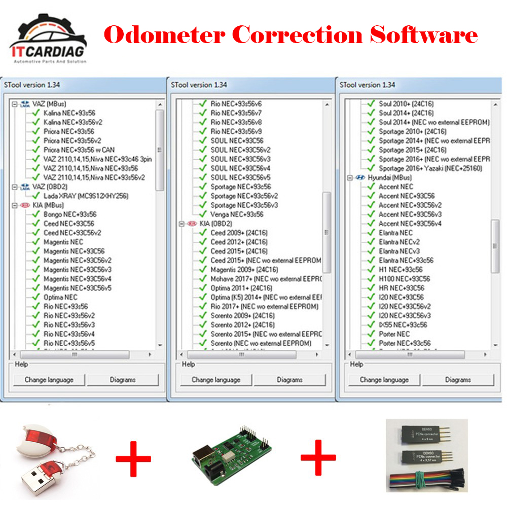 Mileage Odometer Correction Software MTool V1.34 Full Set Dongle + Denso Adapter + Denso Pin Wires Cable Supported By OBD, M-bus