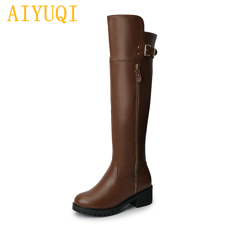 AIYUQI Winter boots over the knee women 2018 new genuine leather women long boots,big size 41 42 female knight boots shoes aiyuqi big size 42 100% natural genuine leather female flat shoes 2018 spring new ladies shoes comfortable nurse shoes female