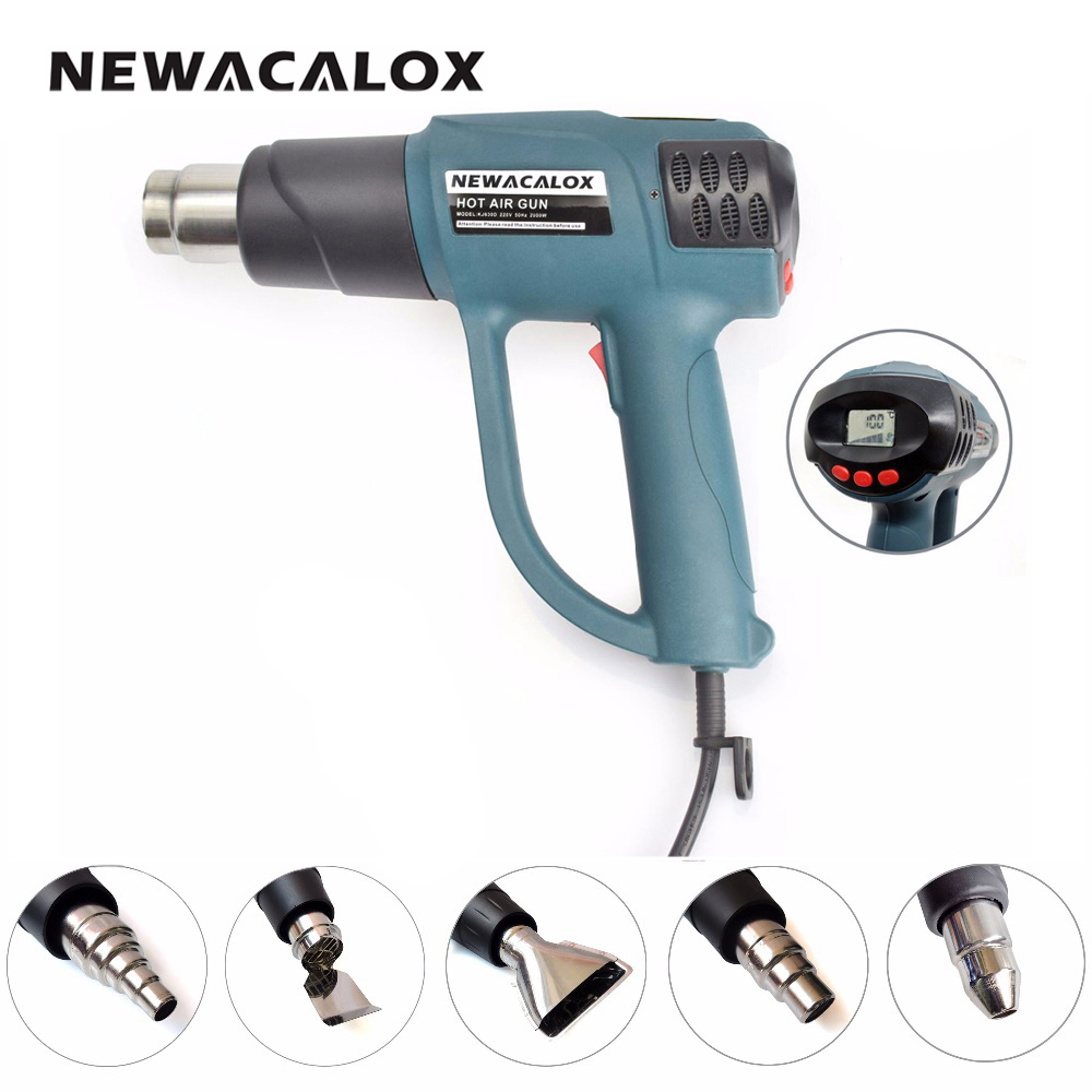 NEWACALOX Smart Control 2000W 220V EU Plug Industrial Heat Gun Shrink Wrapping Electric Hot Air Nozzle Thermoregulator LCD