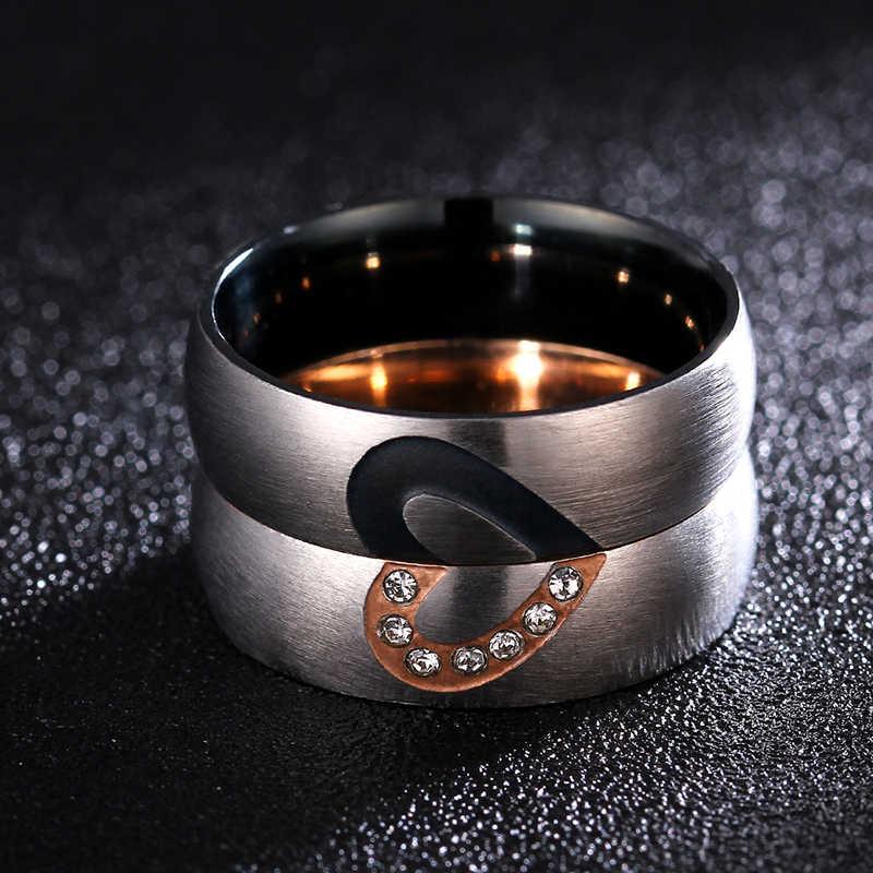 316 ze stali nierdzewnej miłość serce para pierścienie dla kobiet mężczyzn ślub zaręczynowy pierścień cz unikalne Fine jewelry