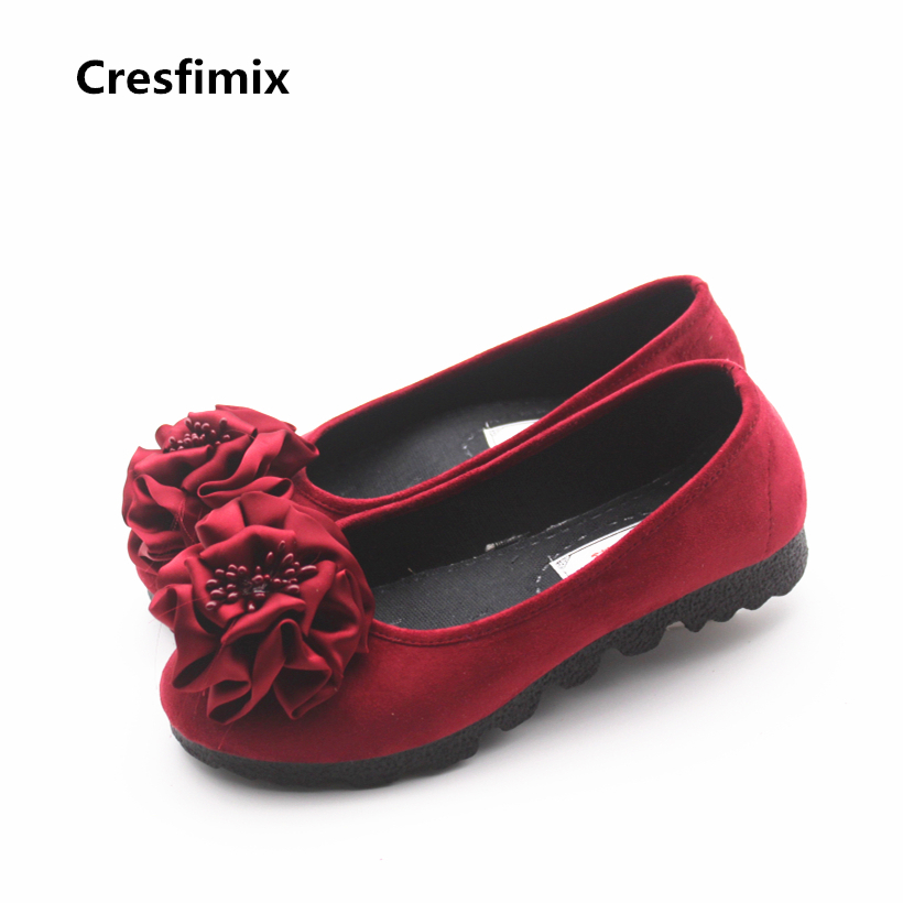 Cresfimix women cute spring comfortable slip on flat shoes lady casual floral flock shoes zapatos de mujer fashion shoes cresfimix women fashion