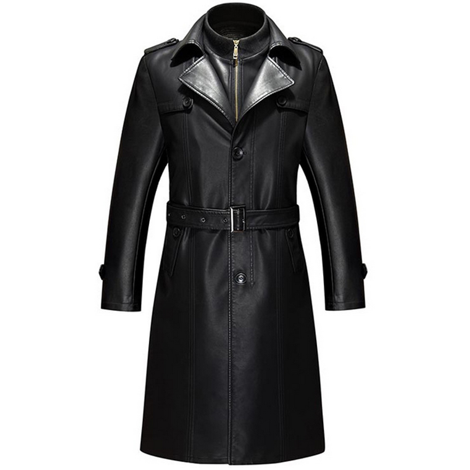 Jacket Trench-Coat Blazers Windbreaker Fleece Long Winter Mens Male Black Fashion Sashes