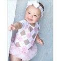 Bodysuit Do Bebê verão Rendas Corpo Do Bebê Meninas Da Criança do Algodão Roupa Do Bebê de Manga Curta Macacão Bebê Corpos