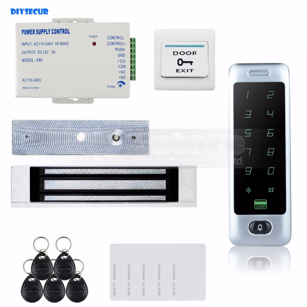 DIYSECUR 125KHz RFID Reader Password Keypad Door Access Control Security System Kit + 180KG Magnetic Lock C40 diysecur 280kg magnetic lock 125khz rfid password keypad access control system security kit exit button k2