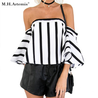 M H Artemis Stripe Off Shoulder White Blouse Women Summer Flare Sleeve Blouse Elegant Beach