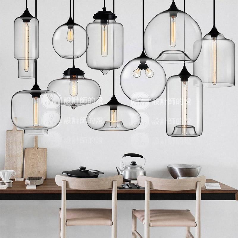 Moderne mode loft scandinave clair verre simple tête pendentif lumière maison déco salon bricolage bref varié E27 ampoule LED