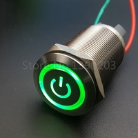 22mm Stainless Steel Green 12V LED Power Symbol Latching Push Button Switch 1NO 4Pin 10A 220V