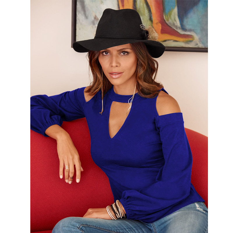 Sexy Off Shoulder Long Sleeve Solid V-Neck Blouse 10