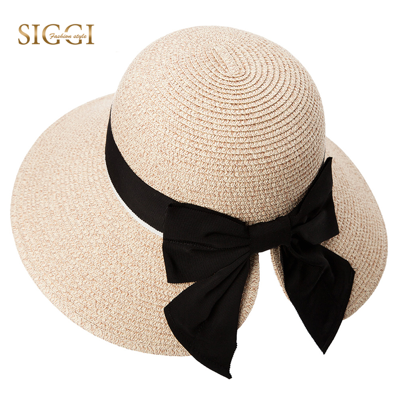 9fec8ea4282e8 SIGGI Women Floppy Summer Sun Straw Hats Solid Bowknot Soft Wide Brim UPF  50+ UV Caps Foldable Beach Fashion For Girls 89015