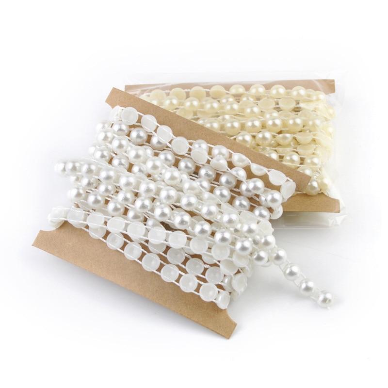 5m/lot 8MM Ivory/White Handmade Cute Semi-circle Pearl Fishing Line Beads Garland DIY Crafting Wedding Decorative Accessories