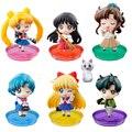7 unids/set Anime Figura Sailor Moon Sailor Moon Marte Júpiter Venus La Vida Escolar de mercurio Ver. PVC Figura de Acción de Modelo Juguetes Con caja