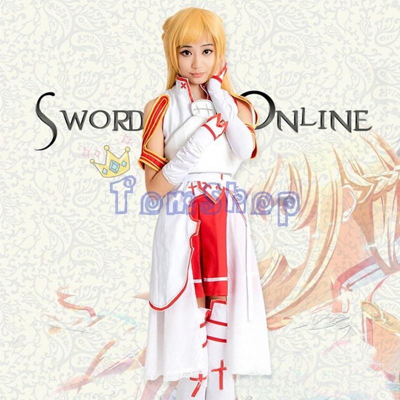 Anime Sword Art Online SAO Asuna Yuuki Cosplay Uniform Suit Full Size Women Girl's Halloween Costumes