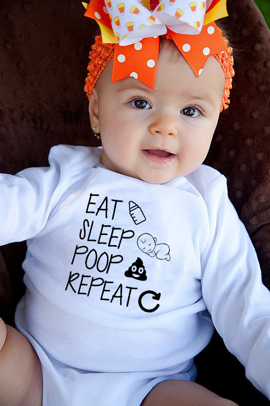 Newborn Romper Long Sleeve Toddler Baby Boy Girl Cotton Eat Sleep Poop Repeat Infant Funny Letter Romper Jumpsuit Clothes Outfit
