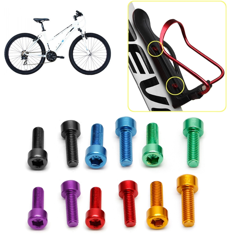2PC Aluminum Alloy Bike Water Bottle Cage Holder Bolt Handlebar Holder Screw 5mm