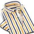 Brand New Classic Camisa A Rayas Ocasionales de Los Hombres de Algodón de Manga Corta Vestido de Partido Formal de la Manera Masculina Camisa 4XL Alta Calidad