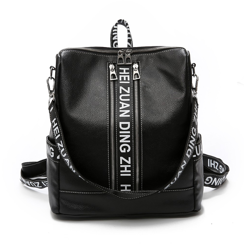 New Hip-hop Style Multifunctional Women Backpack Schoolbag Girls PU Leather Travel bag Vintage College Student Casual School bag
