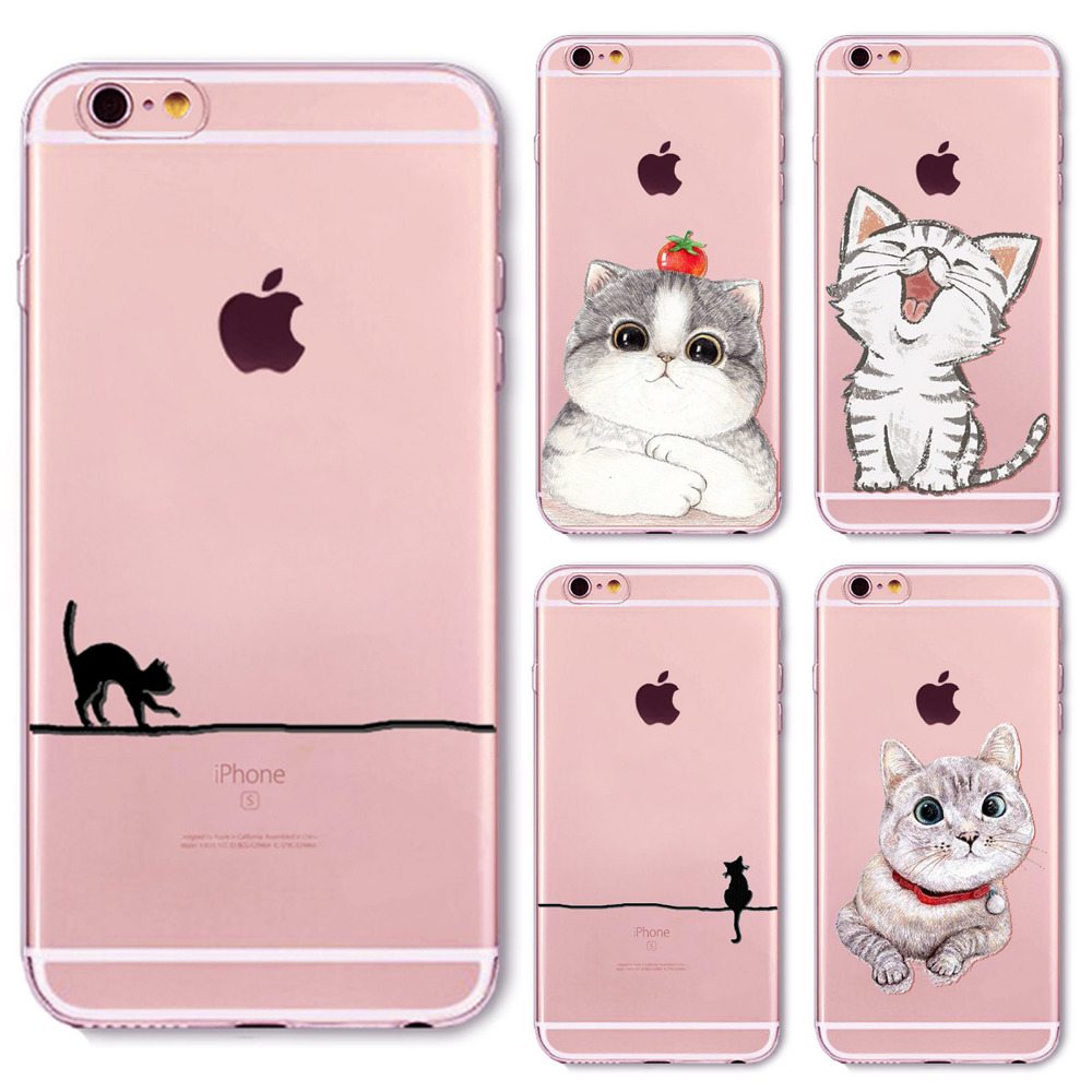 Clear Soft Phone Case Cover for iPhone 4 4s 5 5S SE 5c 6 6S 6Plus 6splus Phone Protector Ultra Thin Silicon Lovely Cute Cat