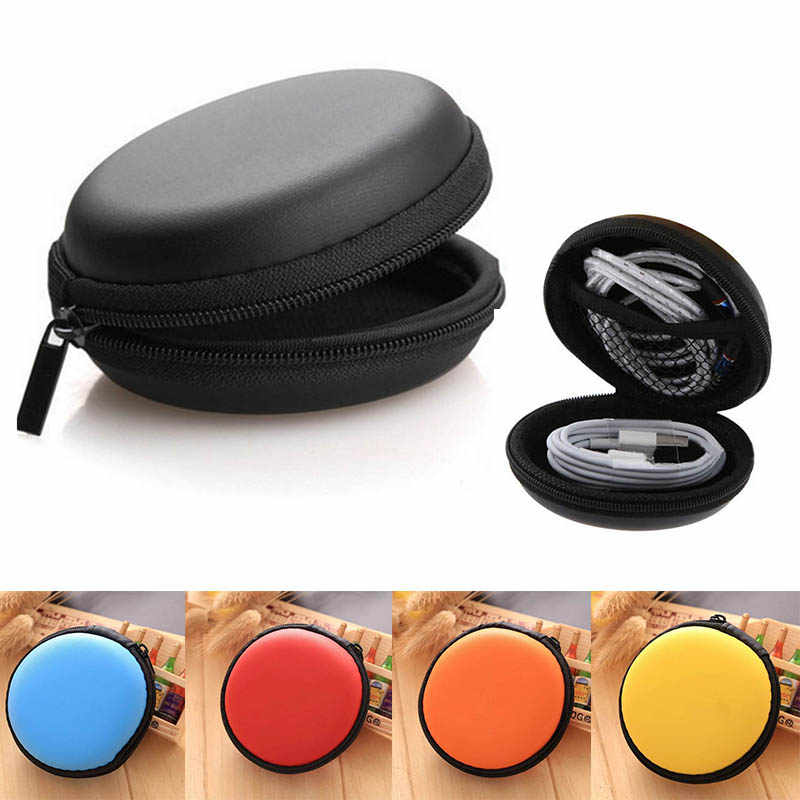 Hard Zippered Pouch Round Shape Earphone Case USB Cable Organizer Earphone Bag Headset box Hand Spinner Portable