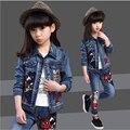 Новорожденных девочек устанавливает Детская одежда дети мода джинсы ковбойском стиле наборы пиджаки для весна осень детская одежда набор 7-15 лет