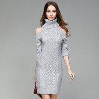2017 Nieuwe Hoge Kwaliteit Mode Casual Coltrui Twisted Bloem Potlood Jurk Herfst Winter Bodycon Kleding vrouwen Jurken Q250