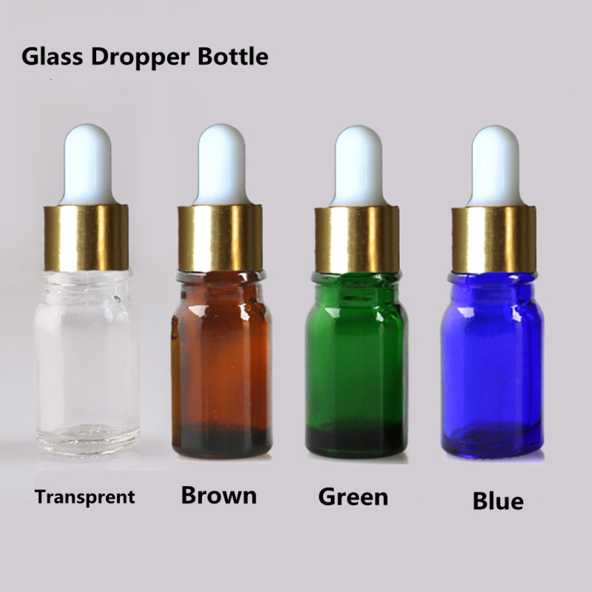 30PCS Essential Oil Glass Bottles Dropper Pipette Vial Small Glass Bottle Botella De Aceites 5ml 10ml Green Blue Brown Color
