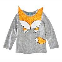 Nouveau mode filles garçons à manches longues t-shirts enfants solide couleur 3D bande dessinée fox motif T-shirts pour enfants occasionnel à long t-shirt