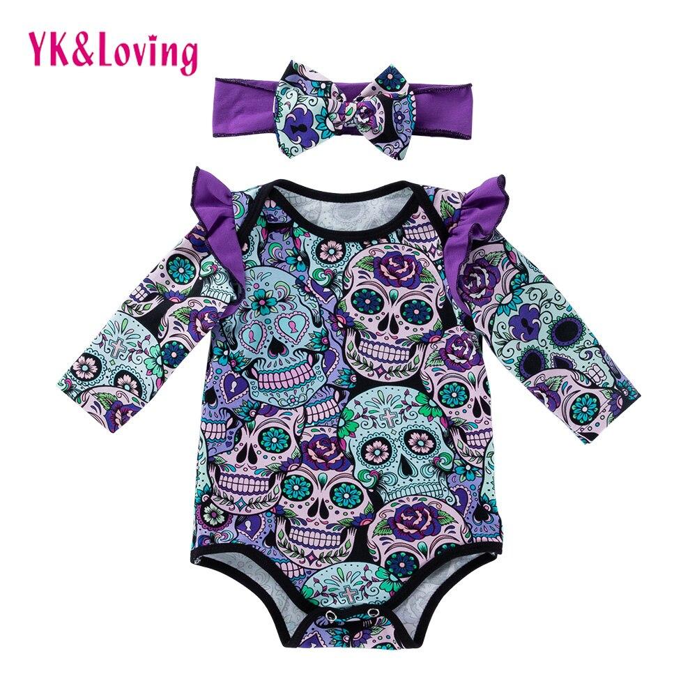 Baby Girl Boy Bodysuit Long Sleeve Skull Print Newborn Infant Suit Halloween Costume For Children 0-24 Month Costume 2018 New rainbow print bodysuit