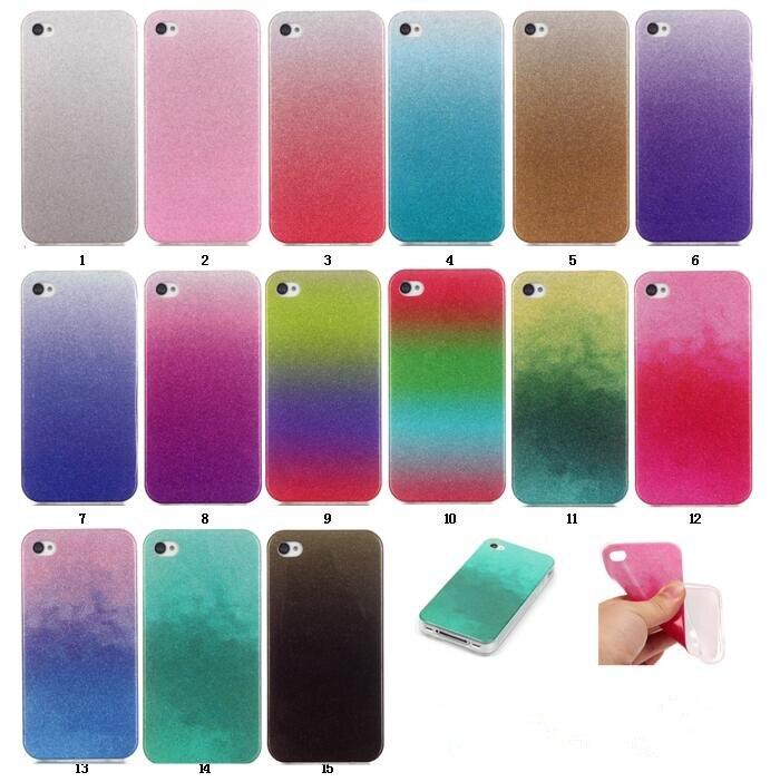 Casos para apple iphone 5s 5c case diseño degradado de color transparente tpu de