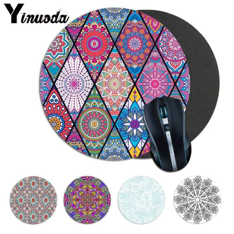 Yinuoda Mandala Pattern Laptop Computer round desk pads Mousepad aniem Natural Rubber Gaming mouse pad Desk Mat Keyboard Mat