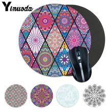 Yinuoda Mandala Pattern Laptop Computer round desk pads Mousepad aniem Natural Rubber Gaming mouse pad Desk Mat Keyboard Mat(China)