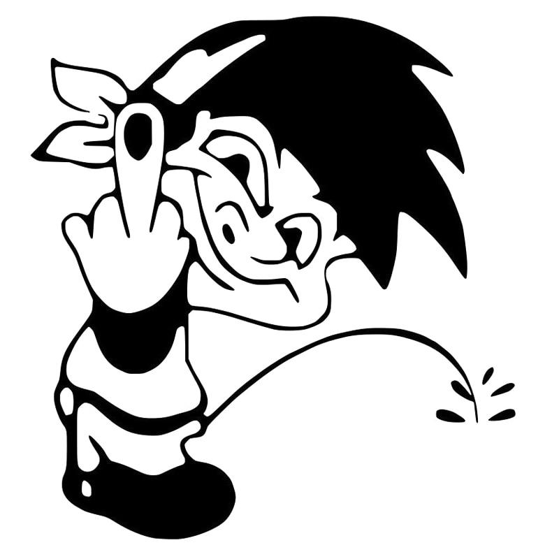 12.6cm*13.7cm Cartoon Fun Peeing Boy Decal Car Window Sticker Car-styling Black/Silver S6-3292