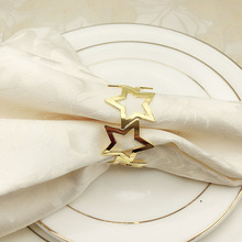 6PCS five-pointed star napkin buckle metal ring gold silver mouth cloth