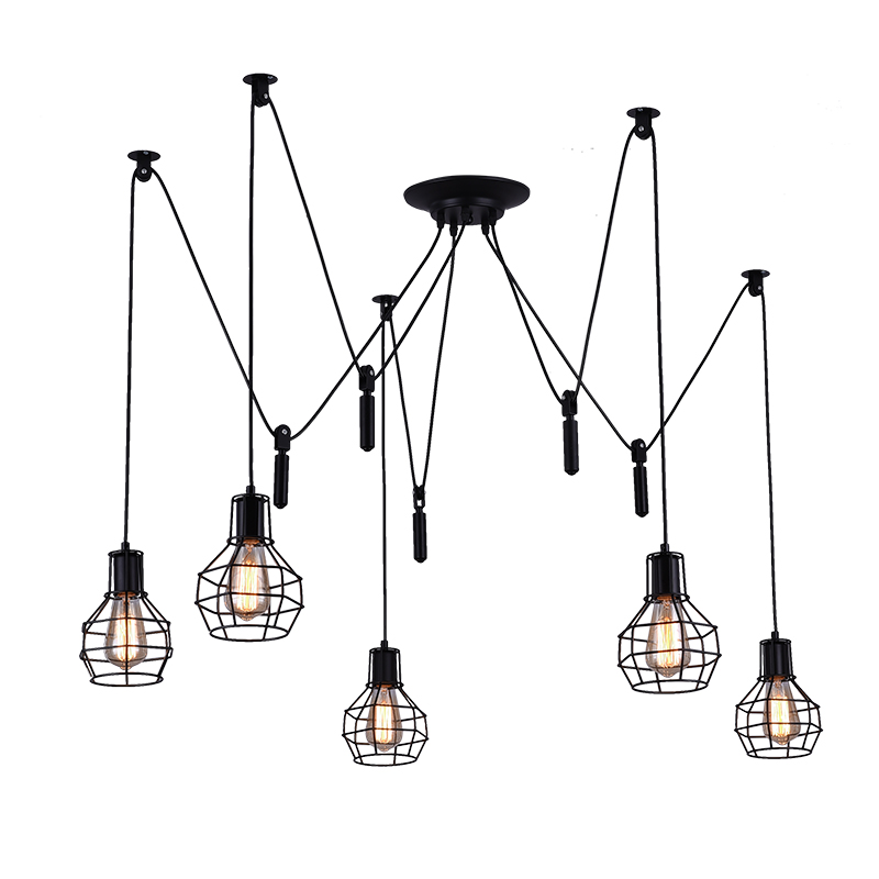Vintage Loft clothing store cafe restaurant Chandelier Nordic personality bar study office living room spider pendant lamp цена