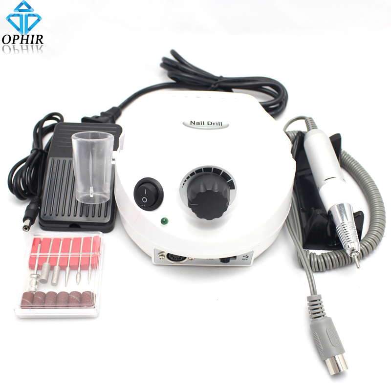 OPHIR White 30000RPM Electric Nail Drill Machine Nail Art Tools File Bits Set Pedicure Manicure Drill Machine To Nails_KD143 white nail tools electric nail drill machine 30000rpm nail art equipment manicure kit nail file drill bit sanding band accessory