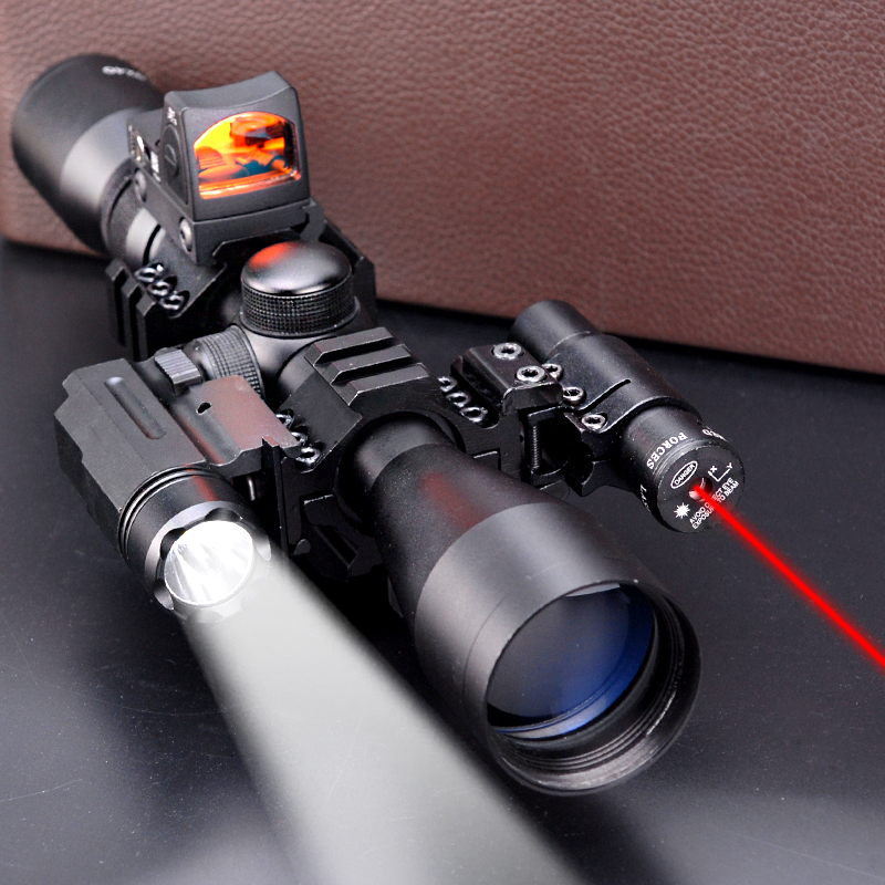 5 in 1 NEW 3-9x40 Hunting Scope Optics+QD 3 Side Rail Mounts+ 800 LUMS Tactical Flashlight + RMR red dot sights+ tactical laser 3 9x40 tactical hunting 3 in 1 combo rifle scope with red laser
