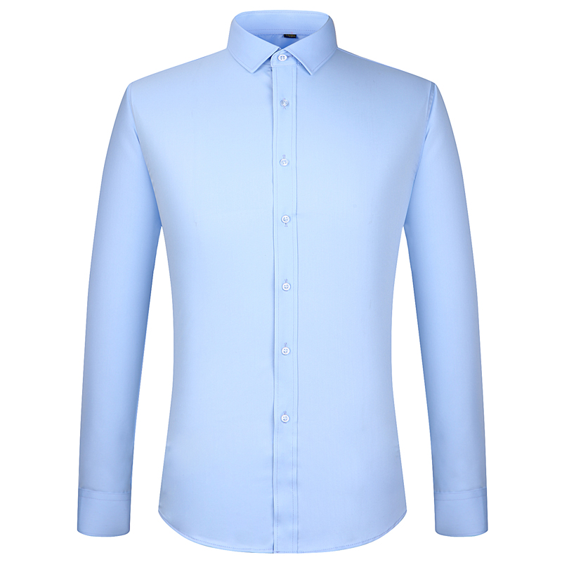 Men's Bamboo Fiber Regular-fit Dress Shirts Easy Care Solid Long Sleeve Smart Casual Comfortable Non Iron Male Formal Tops Shirt