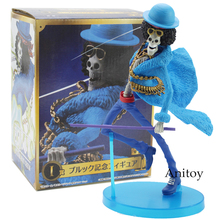 Anime One Piece 20th Anniversary Brook Straw Hat Crew Blue Clothes PVC Action Figure Model Toys 17.5cm