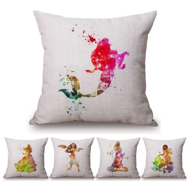 Watercolor Princess Baby Girl Decorative Sofa Throw Pillows Interesting Baby Girl Decorative Pillows
