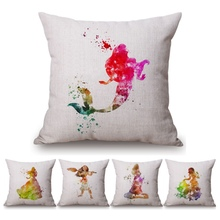 Watercolor Princess Baby Girl Decorative Sofa Throw Pillows Cinderella Rapunzel Elsa Home Decor Sofa Cushion Square Car Pillows