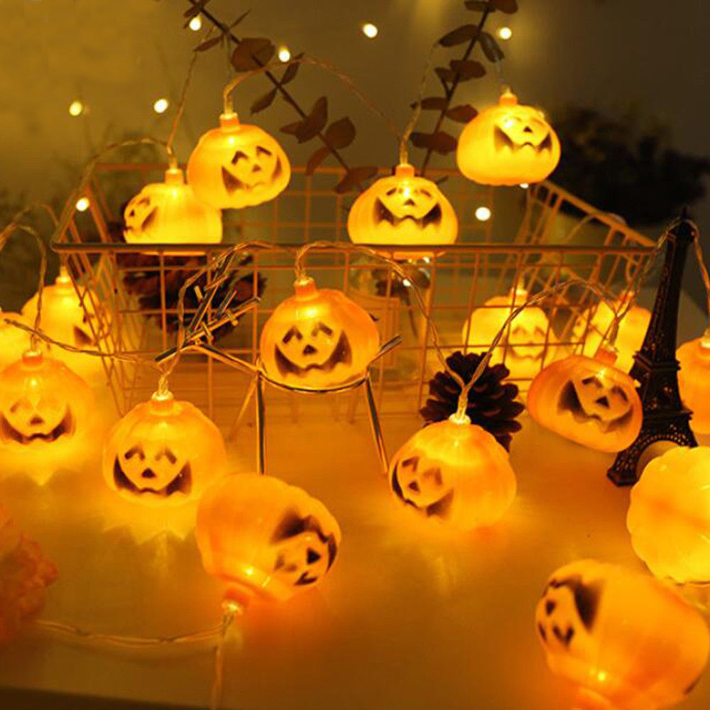 3M Battery Operated Halloween Pumpkin led string lights Halloween Holiday Christmas Party Garden Decoration Lanterns Light halloween creativity 3d stereotophora pumpkin window decoration wall stickers