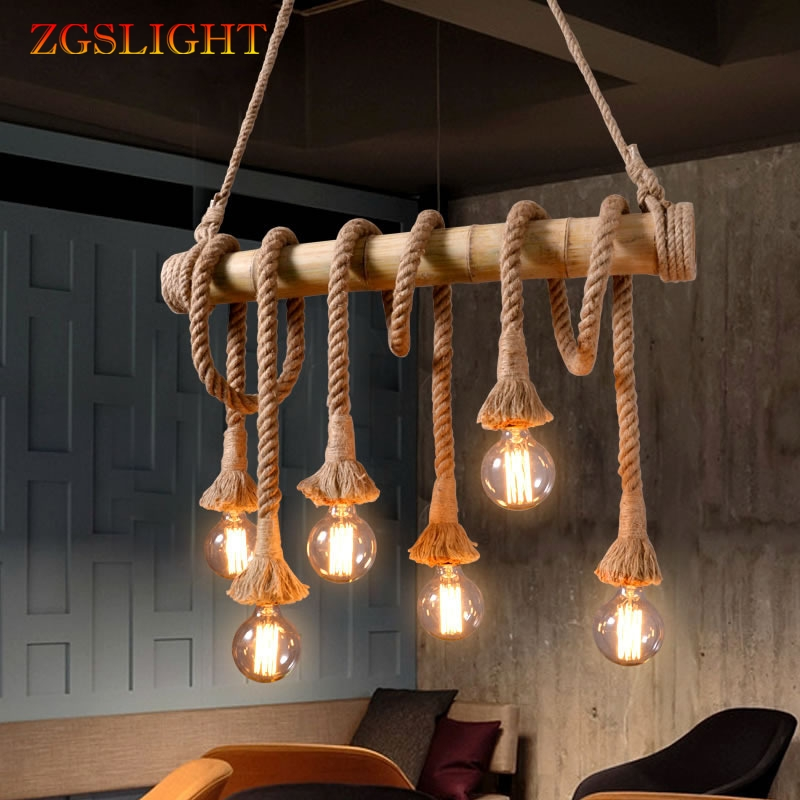 Industrial Retro Bamboo Rope Chandelier Lighting 3-10 Heads Vintage Hemp Tube Kitchen LED Hanging Lamps Restaurant Pendant Lamp