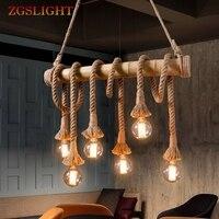 Retro Bamboo Rope Chandelier Lighting 3 10 Heads Vintage Hemp Tube Kitchen Hanging Lamps Restaurant Living Room Clothing Store