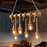 Retro Bamboo Rope Chandelier Lighting 3 8 Heads Vintage Hemp Tube Kitchen Hanging Lamps Restaurant Living Room Clothing Store