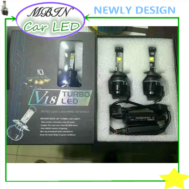 One kit V18 Turbo H1/H3/H7/H8/H11/880/881/9005/HB3/9006/HB4 40W 4800LM driving bulb led auto headlight fog lamp car-styling