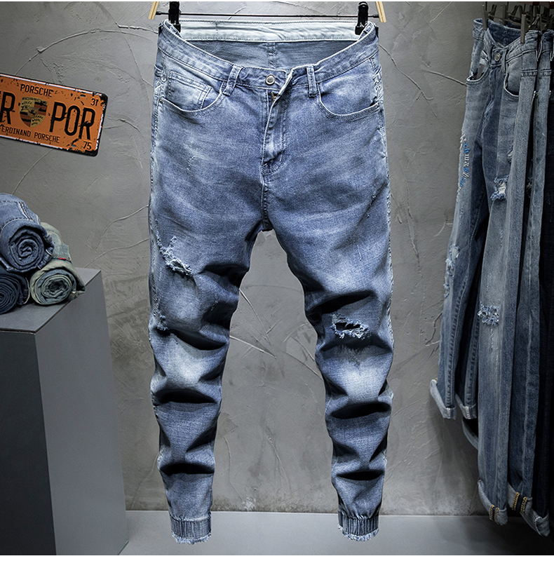 KSTUN 2019 Men Jeans Slim Fit Light Blue Elastic Hollow Out Ripped Feet Jogger Pants Male Leisure Modis Trend Streetwear Jeans Homme 11