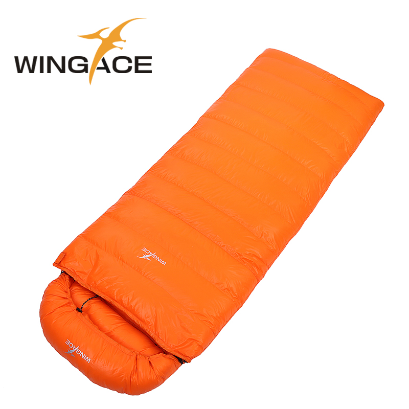 WINGACE Fill 2000G 3000G 4000G Goose Down Sleeping Bag Winter Envelope Outdoor Hiking Tourism Camping Sleeping Bag Adult