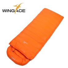 Wingace preenchimento 2000g 3000g 4000g ganso para baixo saco de dormir inverno envelope caminhadas ao ar livre turismo acampamento saco de dormir adulto