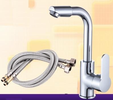 Swivel Mixer Single Handle Kitchen Faucet With 60CM Hose