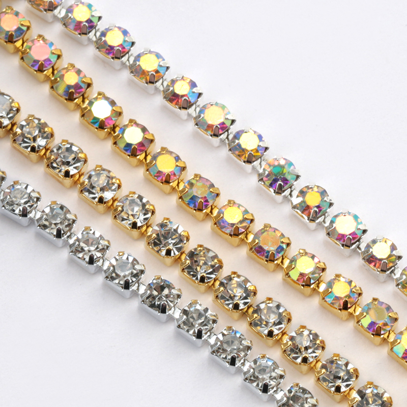 1Yard 10Yards/roll SS6-SS16 Glitter Crystal Rhinestone Chain Sew-On Glue-On For Clothes  DIY Garment Accessories trim Cup Chain