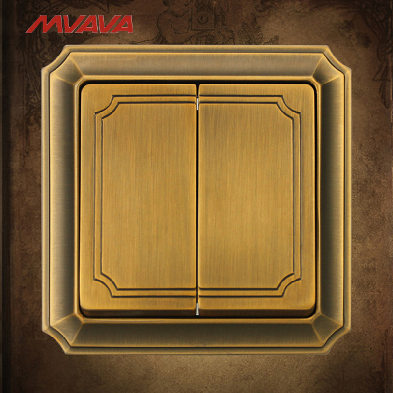 MVAVA 2 Gang 2 Way Wall Decorative Switch Light Control Push Button Bronzed Panel AC 110-250V Electrical Free Shipping usb thermostat temperature control push button switch timer switch third gear with led light line 5v 2 5a